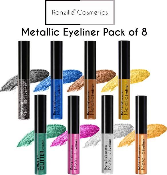 RONZILLE Combo of 8 Waterproof shimmer Metallic Glitter Eyeliner ( Silver, Blue, Gold, Green, Rosegold, Pink, Black, Brown) 15 ml