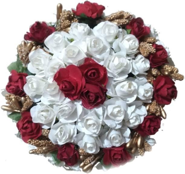 Maahal Rose Flower Bun Juda Maker Flower Gajra Hair Accessories For Women and Girls, 1 Piece Bun