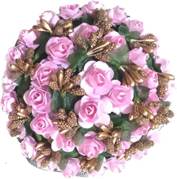 Maahal Rose Flower Bun Juda Maker Flower Gajra Hair Accessories For Women and Girls, Pink Bun
