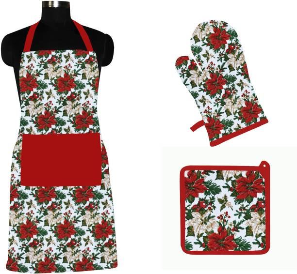 Flipkart SmartBuy Red, White Cotton Kitchen Linen Set