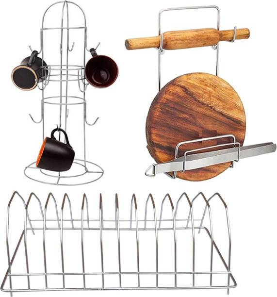 OC9 Cup Stand, Chakla Belan Stand and Plate Stand Combo Chakla/Belan Kitchen Rack
