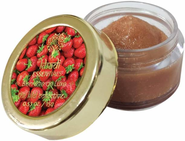 Khadi Essentials Beetroot Lip Lightening Scrub for Tanned and Darkened Lips with Strawberry and Cane Sugar Strawberry, Beetroot