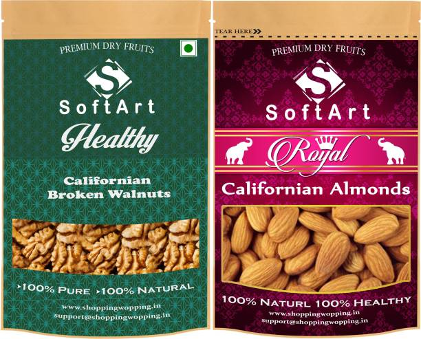 Soft Art Dry fruit combo of Californian Broken Walnut & Californian Almonds (100g each) Walnuts, Almonds