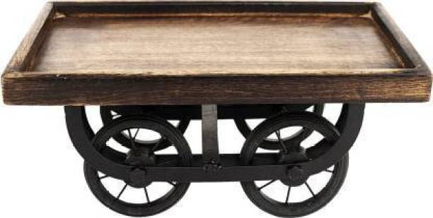 SUNWOOD ENTERPRISES Wood Cart, Snack Serving Platter for Dining Table Tray Serving Set