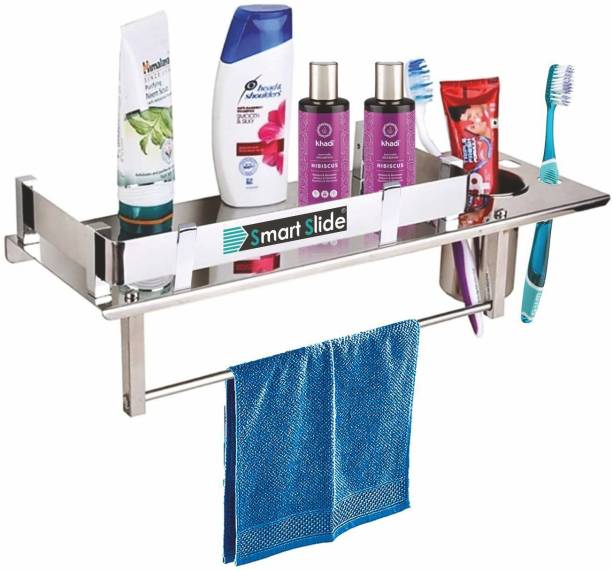 SMART SLIDE Stainless Steel 3 in 1 Multipurpose Bathroom Shelf/Rack/Towel Hanger/Tumbler Holder/Towel Rod/Bathroom Accessories (15 x 5 Inches) Stainless Steel Wall Shelf