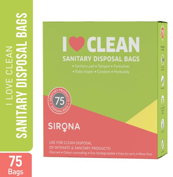Sirona Sanitary Disposable Bags - 75 Bags   for Discreet Disposal of Tampons, Condoms, Sanitary Pads, Panty Liners & Personal Hygiene Waste Sanitary Pad