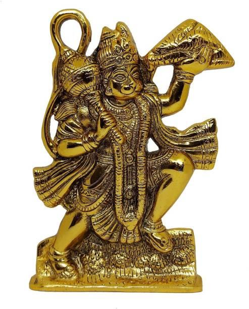Utkrisht Arts Arts Handcrafted Hanuman ji Statue/Bajrangbali Murti/Tabletop for Room and Temple Decor/Gold Plated Gift Article Decorative Showpiece  -  14.5 cm