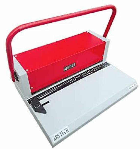 Ars tech A3 Spiral Binding Machine 10-12 Sheets Punch Every Single Slot, 52 Holes Heavy Duty Machine(Red/White) Manual Ring Binder