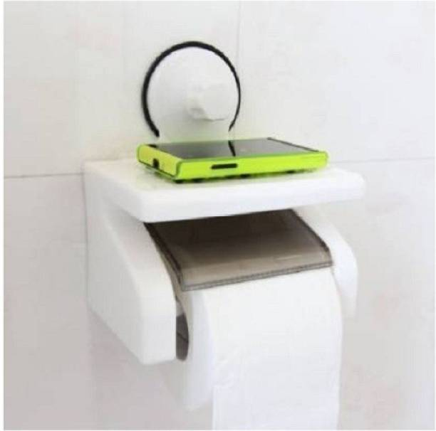 GaxQuly Toilet Paper Holder Tissue Roll Stand Box with Shelf Rack Plastic Toilet Paper Holder, Roll holder with white color Plastic Toilet Paper Holder
