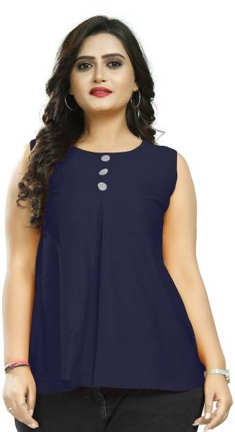 EDGETOUCH Casual Solid, Self Design Women Blue Top
