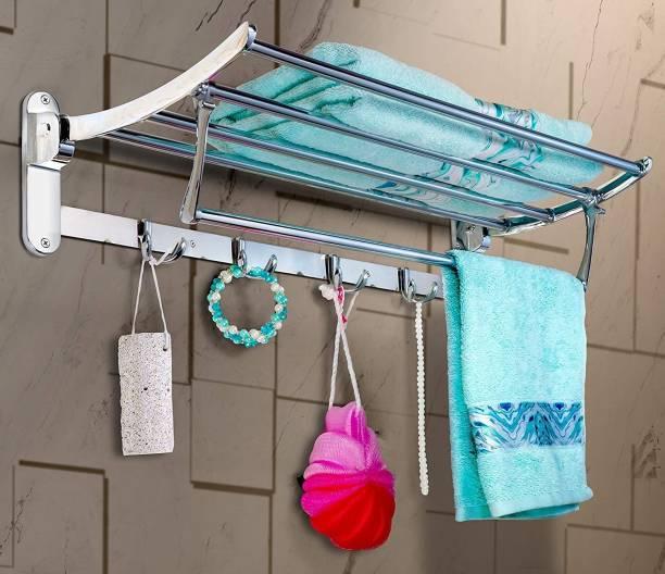 Roseleaf STAINLESS STEEL TOWEL High Grade Stainless Steel Folding Towel Rack for Bathroom/Towel Stand/Hanger/Bathroom Accessories 24 inch 5 Bar Towel Rod 24 inch 5 Bar Towel Rod