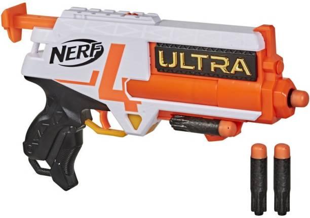 Nerf Ultra Four Dart Blaster, 4 Darts, Single-Shot Blasting, 2-Dart Storage, Compatible Only Guns & Darts