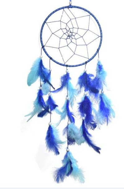 Ryme Car And Wall Hanging 6 Inches Blue and Ocean Dream Catcher Wool Dream Catcher