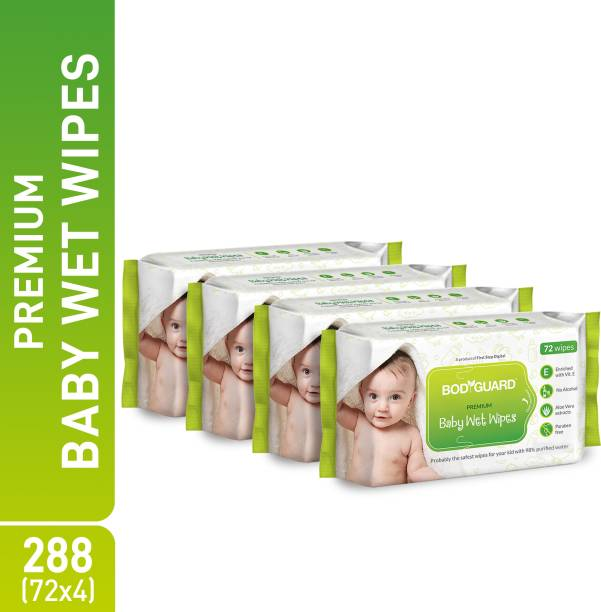 BodyGuard Premium Paraben Free Baby Wet Wipes with Aloe Vera - 288 Wipes (4 Pack, 72 each)