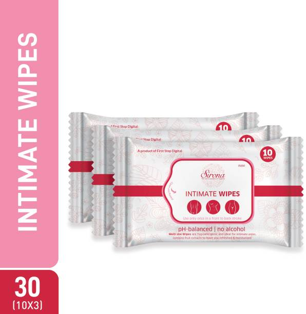 Sirona Intimate Wet Wipes (30 Wipes - 3 Pack) Intimate Wipes