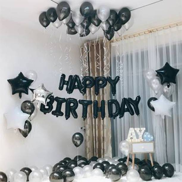 Saikara Collection Solid Solid Happy Birthday Foil Black Set with 30 HD Metallic Balloons Black Silver Kit with 2 Silver Star 2 Black Star Balloon