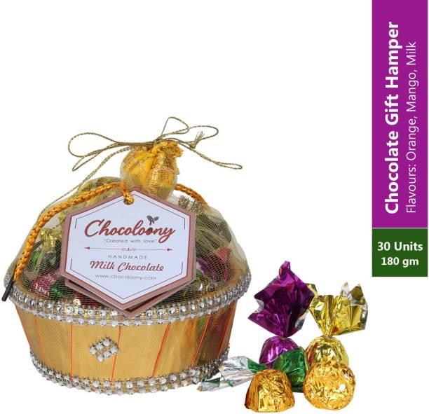Chocoloony Chocolate Basket Gift Hamper 30pcs (180gm) Chocolate Flavours Mango, Orango & Milk Caramels