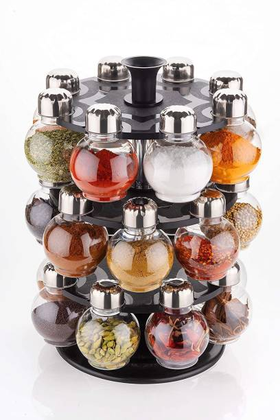 keydus 360 Degree Revolving Round Shape Transparent 24 - Piece Jar Spice Rack, Revolving Spice Rack, Masala Box, Spice Box, Masala Rack, Condiment Set ( set of 24 ) ( Transparent ) 1 Piece Spice Set