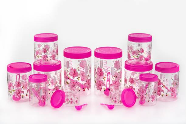 Lion Lender Customers 1st Choice High Quality Flower Design Container Set Of 12 With Spoon  - 250 ml, 500 ml, 750 ml, 1000 ml, 1500 ml, 2000 ml Plastic Grocery Container