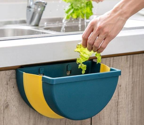 US1984 Kitchen Cabinet Door Hanging Trash Can Collapsible Dust Bin Room Car Waste Box Foldable Waste Bins, Hanging Trash Holder Dustbin Plastic, Silicone Dustbin
