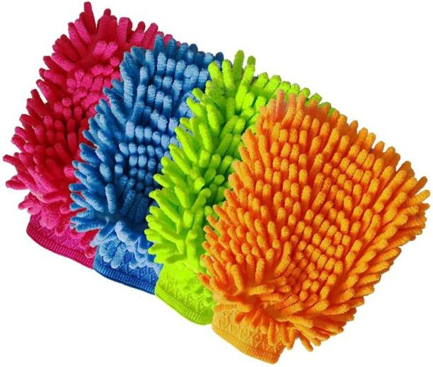 carempire Car Wash Mitt 4 Pack - 12 X 9 Inch Extra Large Size Clean Tools Kits- Premium Chenille Microfiber Winter Waterproof Cleaning Mitts - Washing Glove with Lint Free & Scratch Free Wet and Dry Duster