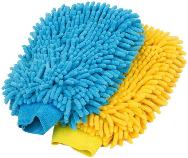 carempire 2 Pack. Premium car wash Microfiber Chenille mitt. Super auto Absorbent. Ultrafine Sponge Fiber Glove. Professional Cleaning at Home, Kitchen, Hand car Washing Care. Soap Chemical Resistant. Wet and Dry Duster