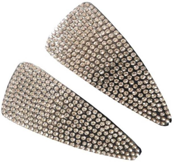 DC LIGHT HOUSE FANCY DESIGNER SILVER PLASTIC HAIR CLIP WITH RHINESTONES FOR GIRLS AND WOMEN 1 PAIR Tic Tac Clip