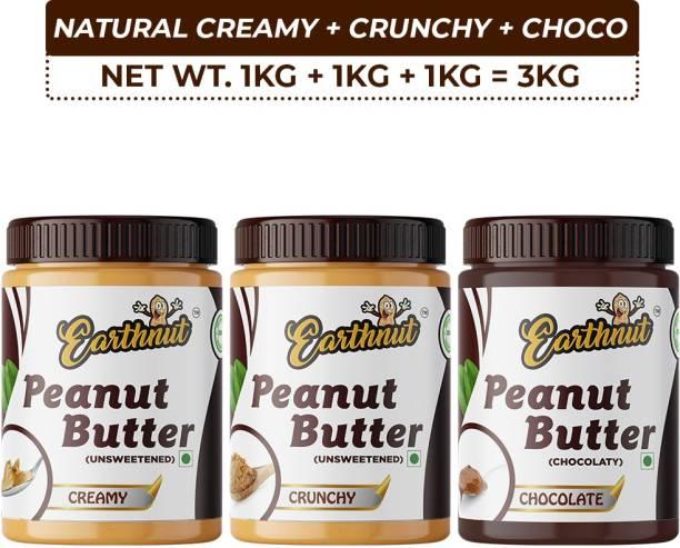 Earthnut Peanut Butter Combo Creamy Crunchy Chocolate (1kg + 1kg + 1kg) 3 kg