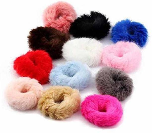 Glaaddo Soft Fluffy Fur Elastic Multicolour Hair Rubber Bands For Kids, Girls And Women (12 Pieces) Hair Rubber Band Rubber Band