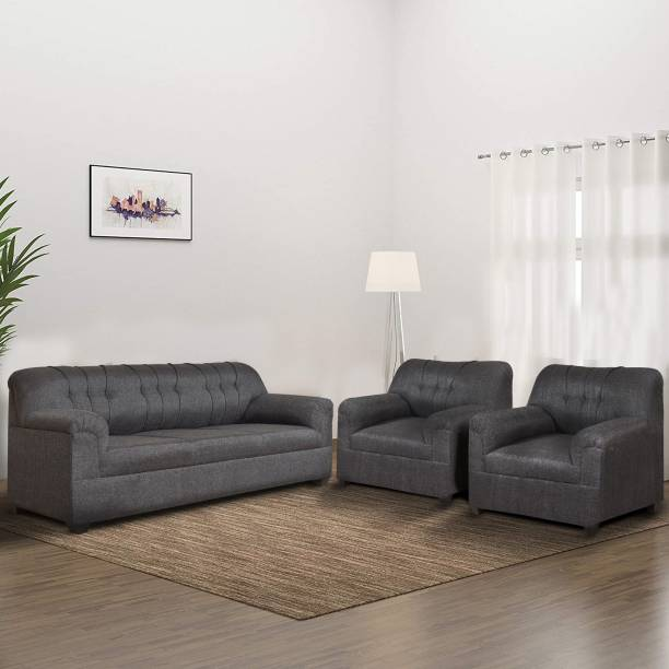 HMG Fabric 3 + 1 + 1 Grey Sofa Set
