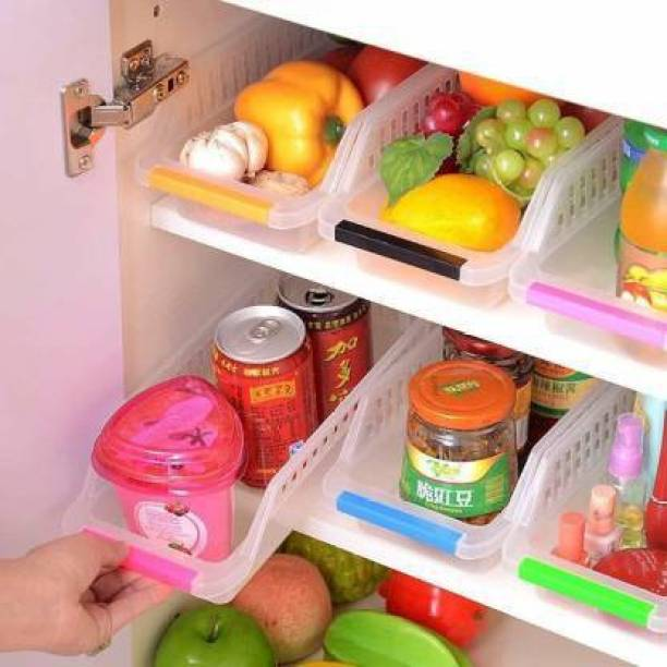 3D METRO SUPER STORE 4 Pcs Fridge Space Saver Organizer Rack Tray Box Refrigerator for Fruits, Vegetables, Cold Drink - 100 ml Plastic Container Storage Basket