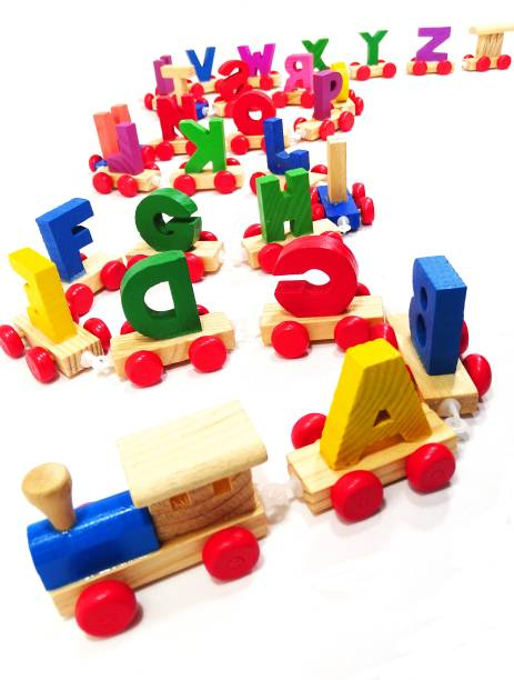 poksi Wooden Alphabet Letters Train (A-Z) English Vocabulary Building Train Set Early Educational Toys Kids 2+ Years for Boys & Girls