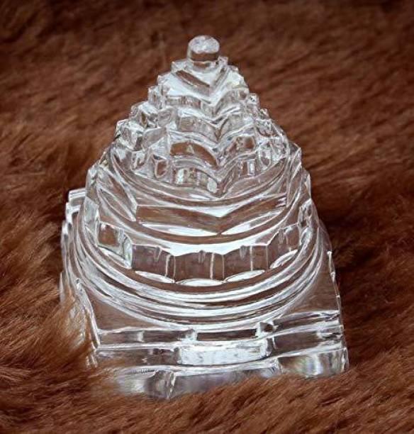RDK Original Clear Crystal (Sphatik) Shree/Shri Yantra for Diwali Pooja , Wealth, Prosperity and Success Crystal Yantra