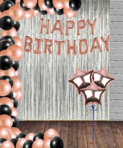 Saikara Collection Solid Solid Happy Birthday Foil Rose Gold Set with 30 HD Metallic Balloons Black Rose Gold Kit with 2 Curtains Balloon and 3 Rose Gold Star Star Balloon