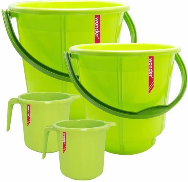 Wonder Plastic Bucket & Mug Combo Set, 2 Bucket 18 Liters & 13 Liters, 2 Mug 1000 ml, Green Color, Made in India 13 L Plastic Bucket