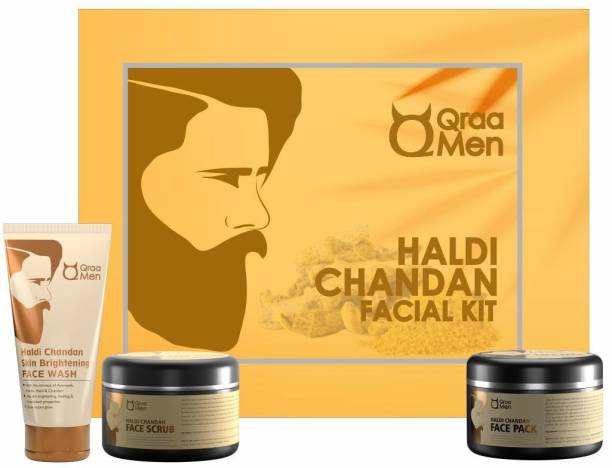 Qraa Men Haldi Chandan Kit for Skin Brightening/Lightening for Oil/Acne/Pimple Control