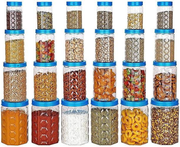 KMT 24Pc Exclusive Air Tight Food Storage Modular Kitchen Containers Jars Combo Set Of 24 - 1200 ml, 650 ml, 350 ml, 250 ml Plastic Grocery Container [Pack of 24 BLUE COLOR] 24 Piece Spice Set