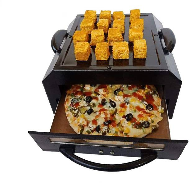 SUNBERG Electric Tandoor (Small Size) with Food Warming Top Heat Proof Stand 1 PCs Magic Cloth & Recipe Book, pizza cutter, skewers, glove. Electric Tandoor