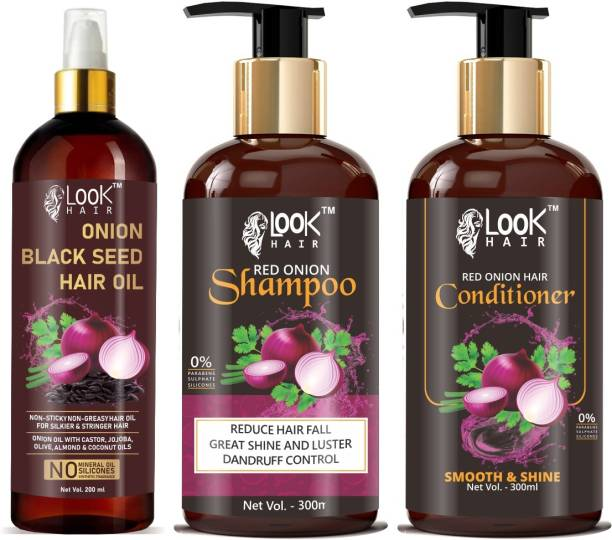 look hair LookHair Onion Black Seed Oil & Onion Shampoo & Onion Conditioner Best Combo ( Pack Of 3 ) Hair Oil