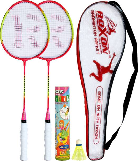 ROXON THUNDER Wide Body Multicolor Pack Of 2 Piece Badminton With 1 Piece Cover And 10 Piece Plastic Shuttles Badminton Kit