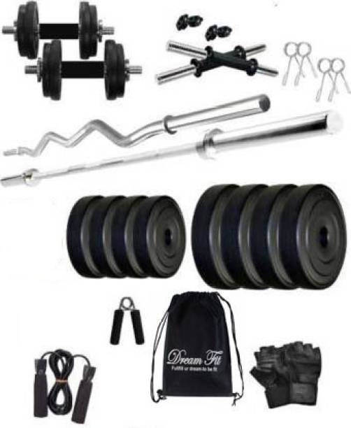DreamFit 30 kg Home gym with 5 ft Straight Rod , 3 ft Curl Rod And Accessories Gym & Fitness Kit