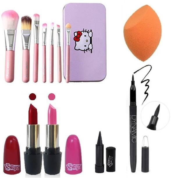 SWIPA Pink Red Lipstick,7Pcs Makeup Brush,Liquid Eyeliner Pen,Puff,Kajal
