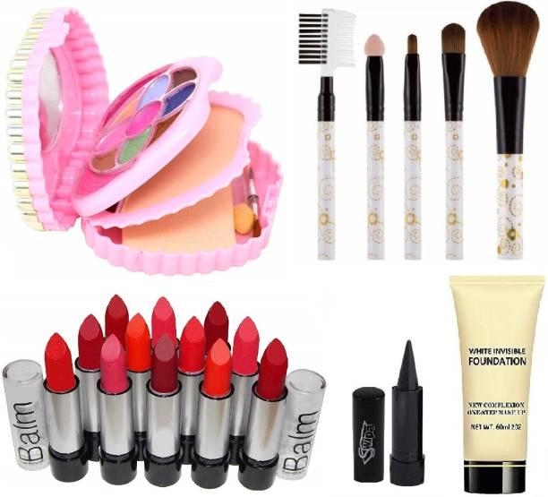 SWIPA Kajal,Makeup Kit,12Pcs Matte Lipstick,5Pcs Makeup Brush,Foundation(60ml)