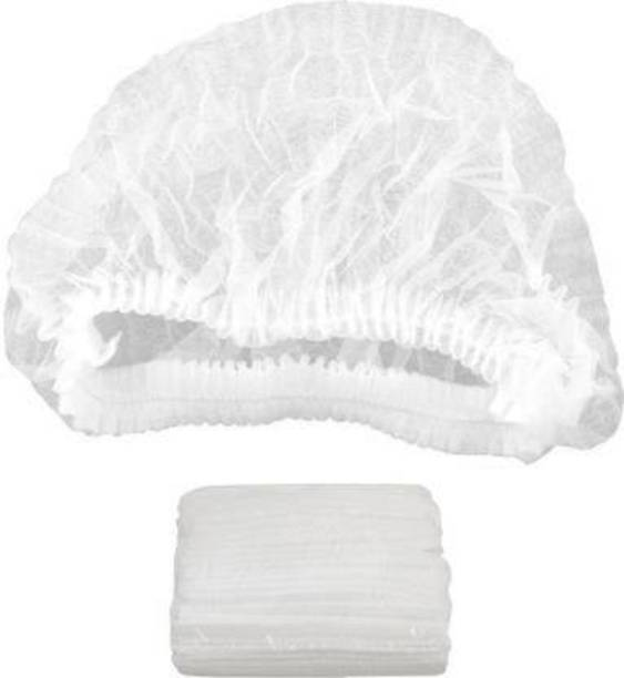 OFF Disposable Stretchable White Caps, Cover Hair for Hygiene, 50 Pieces Surgical Head Cap Surgical Head Cap