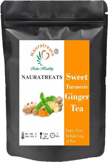 Nauratreats Sweet Turmeric Ginger Tea 100 gm (40+ Cups) Loose Leaf Immunity Booster SUPERFOOD Blend Herbal Tea | Powerful Wellness & Healing Properties of Turmeric & Ginger Herbal Tea Pouch