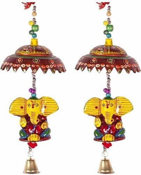 CRAFTOHOLICS Ganesha Door/Wall Hangings Toran/Latkan 2pcs Multicolour 48 cm Microfiber || Handicraft Items Toran
