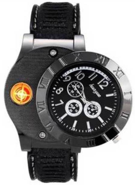 GREYFIRE USB Rechargeable Spy Flameless Windproof Stylish Wrist Watch Cigarette Lighter