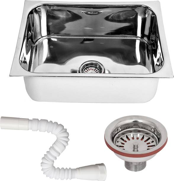 RENVOX Kitchen Sink 24X18X9 Inches Glossy Finish Stainless Steel Sink || Kitchen Accessories || Kitchen Sink Stainless Steel || Bathroom Accessories Single Bowl With SS Coupling And PVC Pipe Vessel Sink
