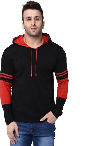 HELMONT Striped Men Hooded Neck Red, Black T-Shirt