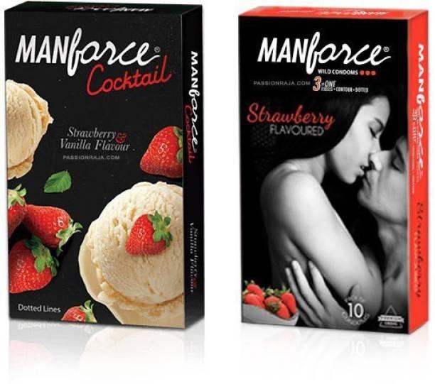 MANFORCE Strawberry + Strawberry-Vanilla Cocktail PassionRaja.com Combo (20 Condoms) Condom